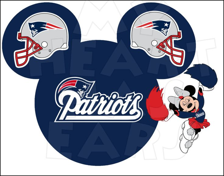 New England Patriots football with Minnie Mouse INSTANT DOWNLOAD digital clip art :: My Heart Has Ears
