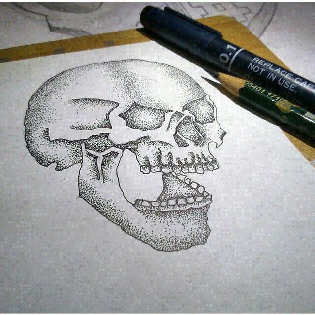 Illustration skull for Moos apparel. #draw #illustration #pointillism