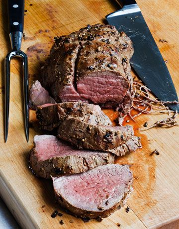Balsamic Roasted Beef Tenderloin...super easy and delicious! {Ina Garten's recipe}  - Dijon mustard, aged balsamic vinegar, kosher salt and  coarsely cracked black pepper.  Click for the easy how-to recipe!