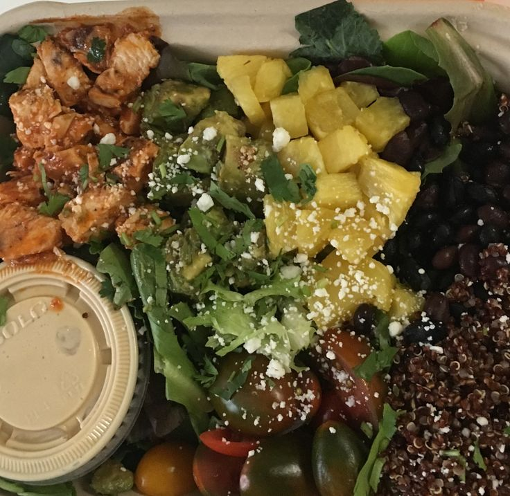 Recreate eatpurely southwest chopped salad: greens, chicken, black beans, tomato, pineapple, red quinoa dressing