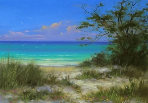 """""""Grayton Beach, Florida"""" 5""""x7""""original oil painting by Martin Figlinski up for auction."""