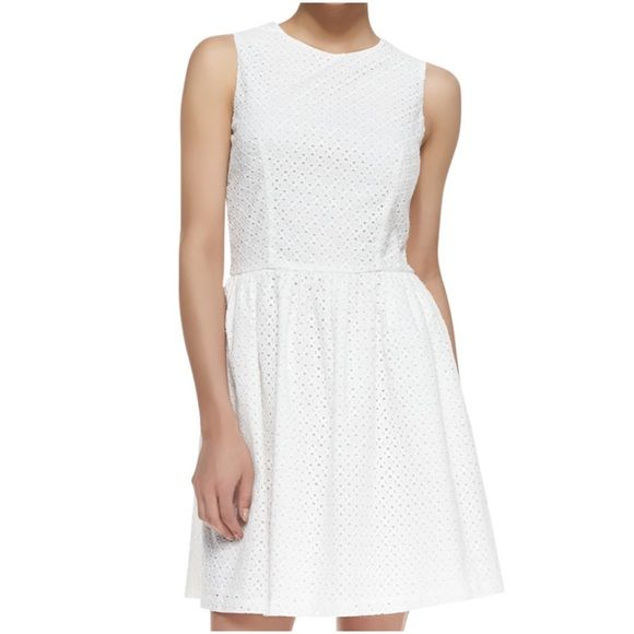 TRENDING 💋SUNFLOWER EYELET WHITE DRESS ~ NWT 💟 SWEET SUNFLOWER EYELET WHITE FIT & FLARE DRESS ~ Feel flirty and feminine in this Sunflower eyelet fit-and-flare dress from French Connection ~ Pockets ~ Dress up or down ~ Knee length ~ 100% Cotton #3004🚫Trades or Holds ✅Use offer Option ❤️Bundles French Connection Dresses