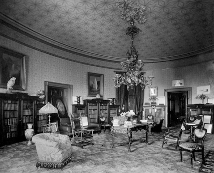 yellow-oval-room-1890-Benjamin Harrisons Library ... 1940s White House Scottie