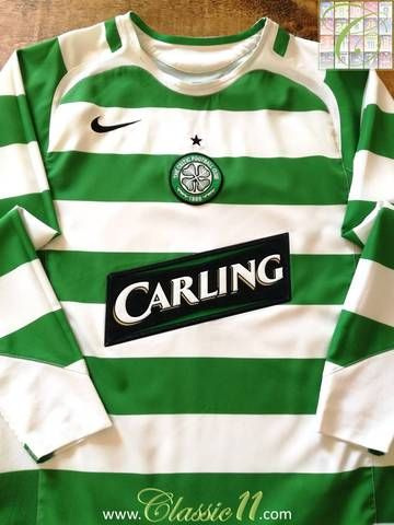 e383121b9 Official Nike Celtic home long sleeve football shirt from the 2005 06  season.