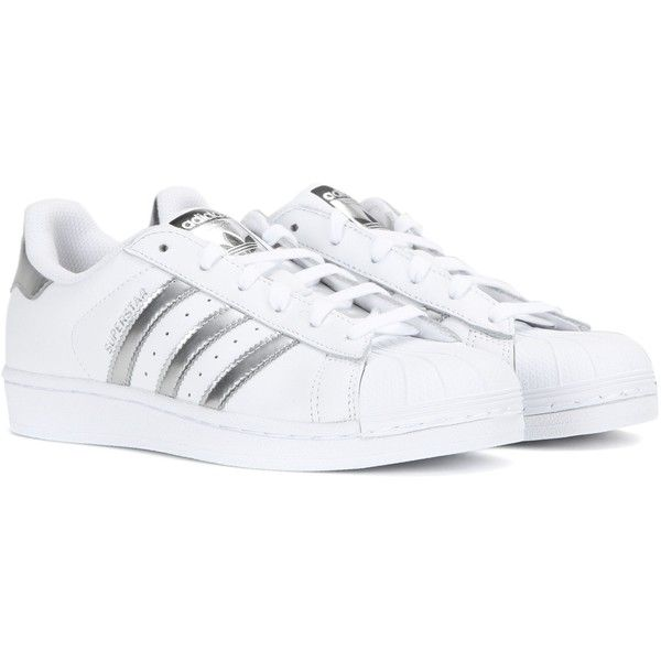 Adidas Superstar Leather Sneakers ($105) ❤ liked on Polyvore featuring shoes, sneakers, adidas, tenis, white, adidas trainers, white sneakers, leather trainers and adidas footwear