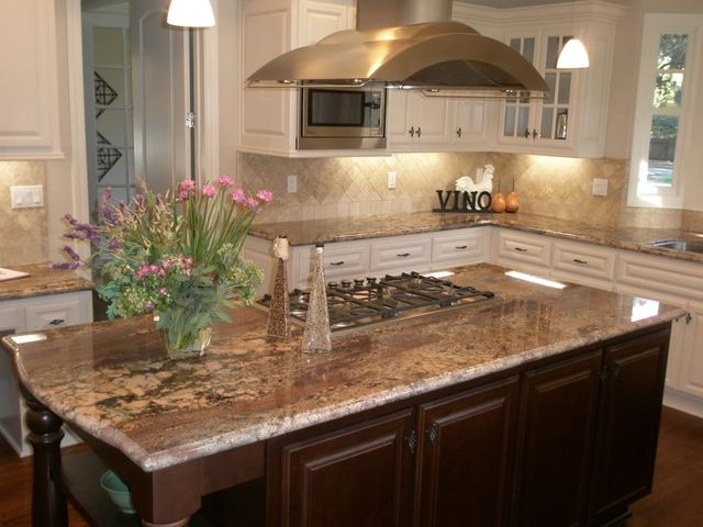 Ocean Black Granite Countertops On White Kitchen Picture