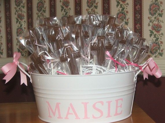 Baptism/Communion/Christening Personalized Tin with 40 Chocolate Lollipops on Etsy, $70.00