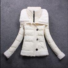 E invierno mujeres pato abajo abrigos chaqueta wadded ocasional delgada de espesor parkas diseño corto de cordero patchwork abrigo envío gratis(China (Mainland))