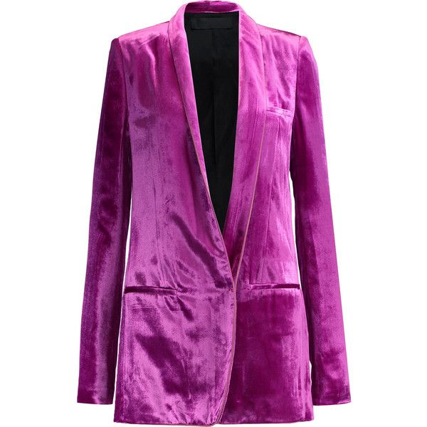 Haider Ackermann Velvet blazer (54,845 DOP) ❤ liked on Polyvore featuring outerwear, jackets, blazers, magenta, faux-leather jackets, shoulder pad jacket, haider ackermann, purple velvet jacket and magenta blazer