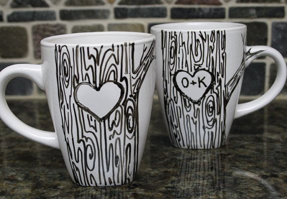 Heart on Tree Mug. Doodle Decorated Mugs. For the artist in you! You can go all out or very simple, thats the joy of art, its your choice! :)