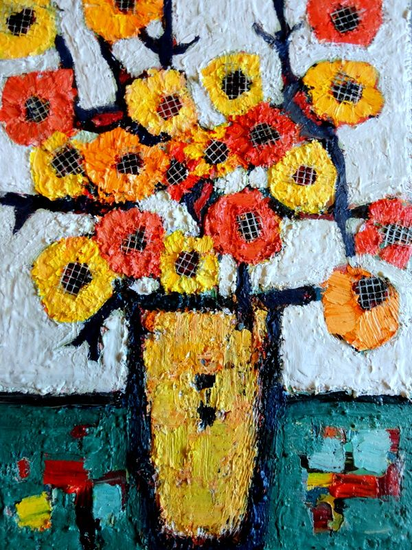 "titiled ""COUNTRY FLOWERS"" mixed media on wood"