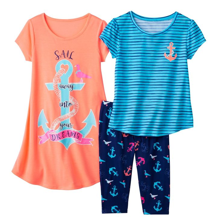 Girls 4-16 SO® Graphic Pajama Set, Girl's, Size: Xs (5/6), Brt Orange