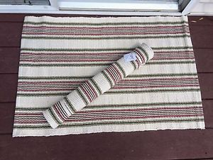 Sail Stripe Cotton Door Mat Rug 24 by 36 Boho Rustic Shabby Brown Red Green | eBay