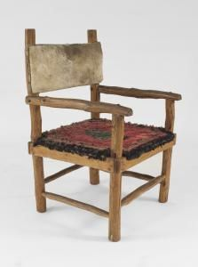 Set of 6 Rustic Adirondack arm chairs with a wood frame having skin backs and upholstered hooked rug seats with a pine tree design (PRICED AS SET)