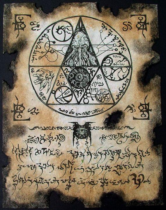 SCEAU de CTHULHU Necronomicon page occulte demon magick esprit sombre vampire horreur