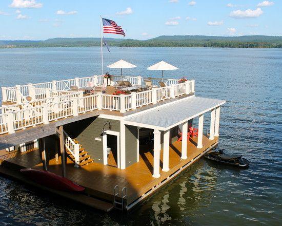 lake dock boat dock floating house floating boat boat house house deck