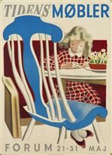 Udstillingsplakat, 'Tidens Møbler, Forum' tegnet af Aage Sikker Hansen (1897-1955), litografisk tryk hos Andreasen & Lachmann, København 1942. 84,5 x 61,5 cm. Uden ramme. Fremstår med taperester på hjørnerne. <br><br> Varen er en del af temaauktionen 'Plakatens guldalder' - en omfattende samling af vintageplakater, som i januar og februar sælges hos Lauritz.com Vejle.