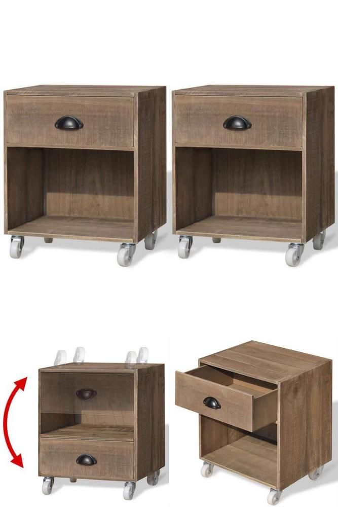 Rolling Bedside Tables Pair Of 2 Wooden Nightstands Drawer Cupboard Lamp Unit Rollingbedsidetables Modern Wooden Nightstand Pair Bedside Tables Bedside Table