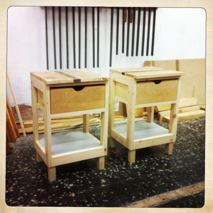 Mesitas de noche Gemelas  Twin Bedside tables 100% recycled wood