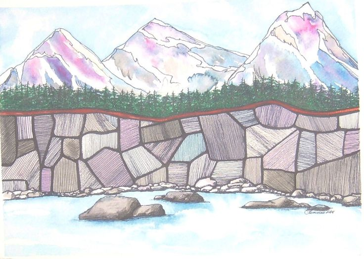 """Blue Mountains Rock  Watercolor and Ink  10 ¼"""" x 16 ¼"""""""