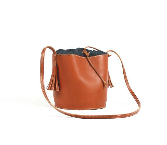 LEATHER BUCKET BAG/Woman bag/Crossbody bag/Handbags/Evening