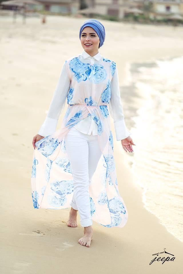 beach hijab style- white dress with blue floral prints- Hijab fashion…