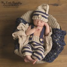 Newborn baby photography props infant knit crochet costume blue striped soft outfits elf button beanie+pants baby shower gift(China (Mainland))