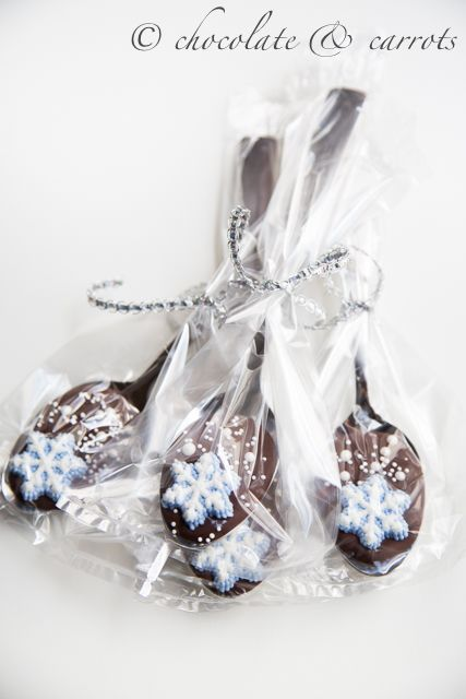 Snowflake Chocolate Spoons {gift} | chocolate & carrots