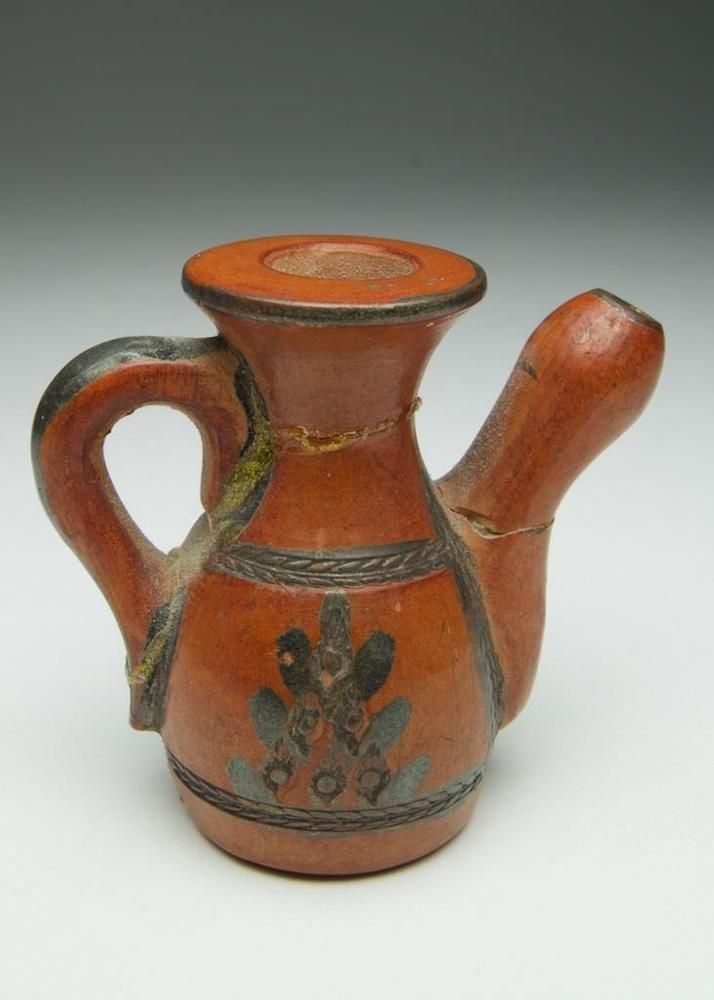 Antique Turkish Tophane pottery miniature coffee pot. Islamic. 2of2 pieces