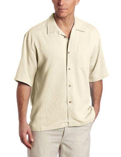 Cubavera men 39 s short sleeve pieced bedford cord texture for Mens short sleeve camp shirts
