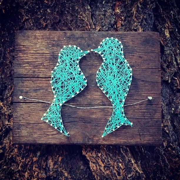 Love birds custom string art two love birds on a by for Diy nail and string art