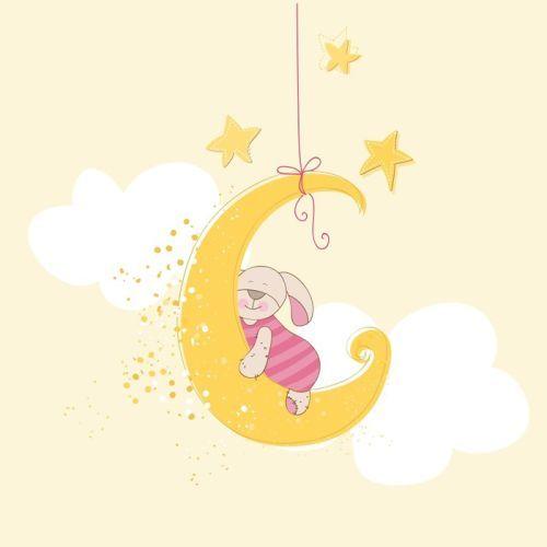 'Asleep in the moon' art print - perfect for a gender neutral nursery!  #WallArtPrints #Nursery #Art