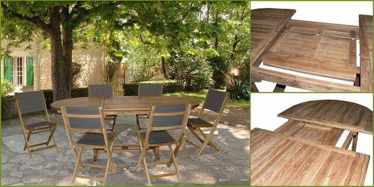 Salon de jardin teck Alpilles : table 150/210 + 6 chaises teck/textilène