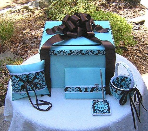 Wedding Set  TIFFANY BLUE Choco Brown  DAMASK  by WeddingsofDesign, $175.00