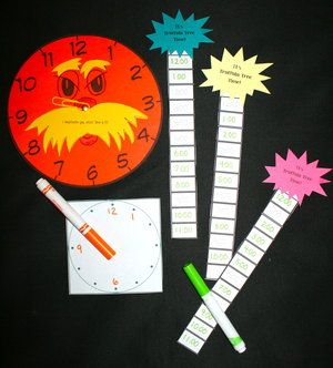 Dr. Seuss activities: Telling time to the hour with a Lorax clock and Truffula trees. FREE games 1.MD.3
