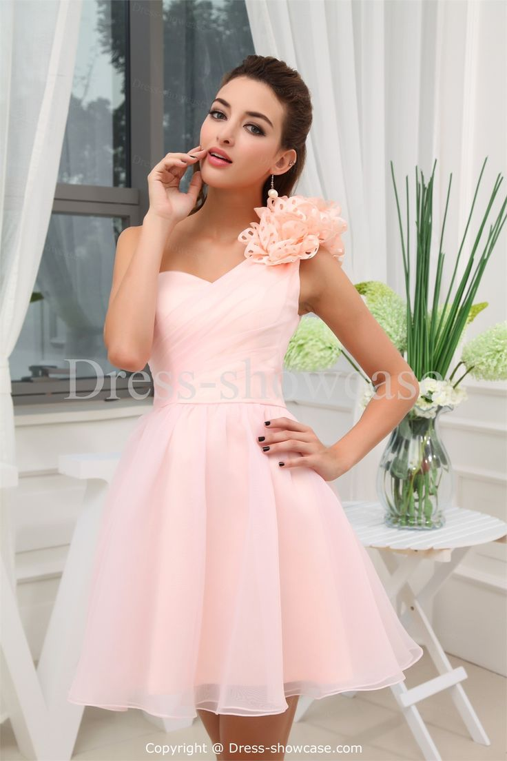 Pink Short Satin One Shoulder Bridesmaid Dress... but I could do without the frills on the shoulder.