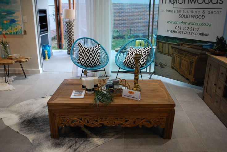 Acapulco Chairs with Carved Coffee table