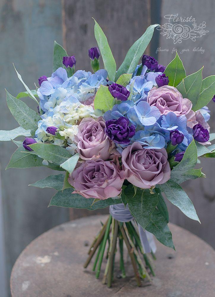 букет, синий букет, фиолетовый букет. цветы, подарок, эвкалипт, гортензия, роза, гвоздика