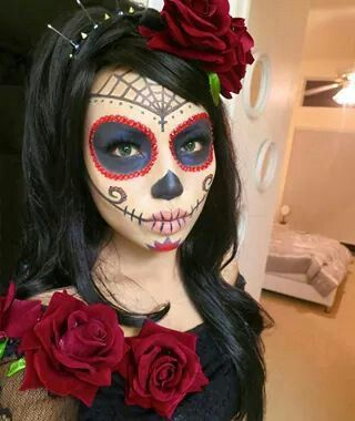 120 best half face sugar skull makeup images on pinterest halloween makeup la catrina and day. Black Bedroom Furniture Sets. Home Design Ideas
