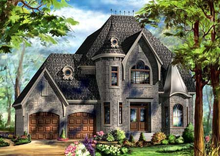 Plan W80716PM: Stylish European Home Plan
