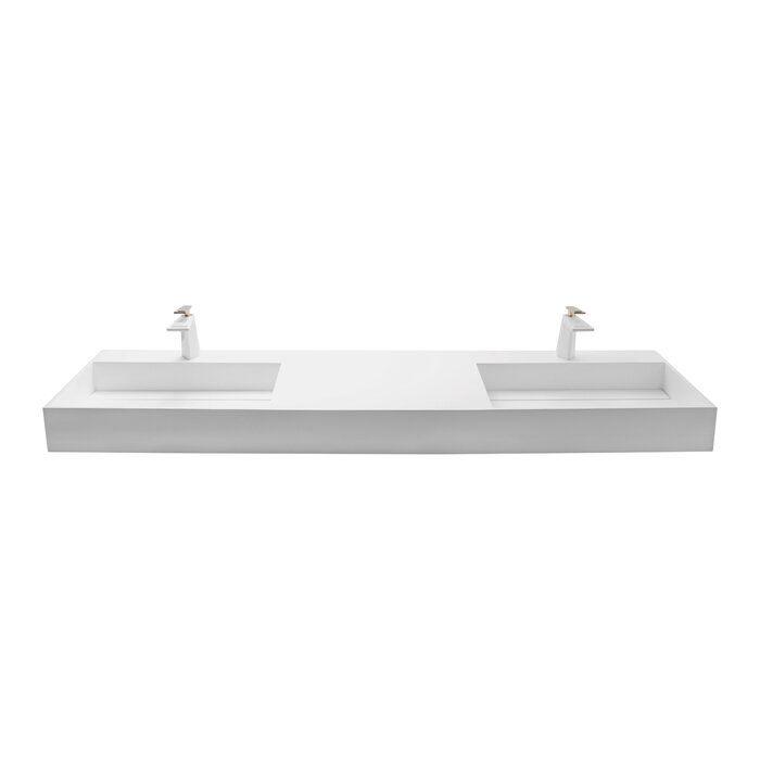 Boyter Stone Rectangular Wall Mount Bathroom Sink Wall Mounted