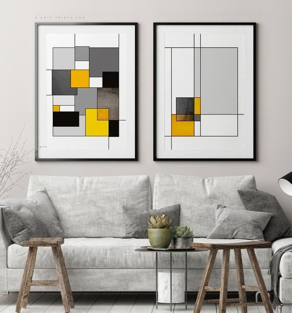 Geometric Wall Art Set Of 2 Bauhaus Prints Mid Century Modern Etsy Yellow Wall Art Printable Geometric Wall Art Abstract Wall Art