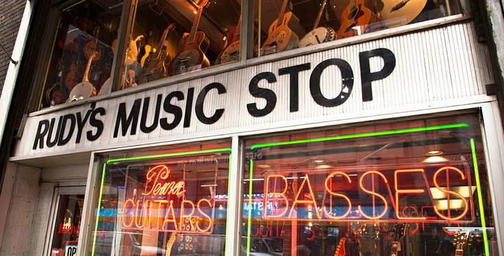 rudy 39 s music stop on w 48th st new york city rudy 39 s music store music store music guitar. Black Bedroom Furniture Sets. Home Design Ideas