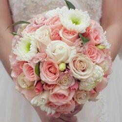 Round Wedding Bouquet: White Chrysanthemums, White Roses, Pink Roses, Pink Spray Roses & Greenery