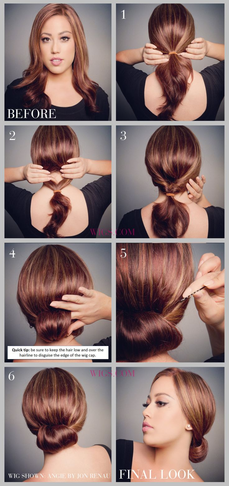 Hair updo tutorial. On Step 3: Loop the ponytail through the created space of step 2 (makes an inside-out ponytail). On 4: Take the hair left out of the ponytail & wrap it around your finger to create a roll. On 5: Secure rolled up bun via bobby pins. ***** Referenced by 1 Dollar Website Hosting (WHW1.com): Affordable, Reliable, Fast, Easy, Advanced, and Complete, and FREE Sites (ask).©