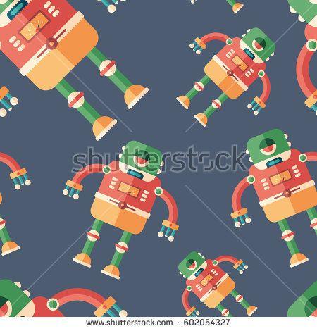 Robot frog flat icon seamless pattern. #robots #robotics #vectorpattern #patterndesign #seamlesspattern