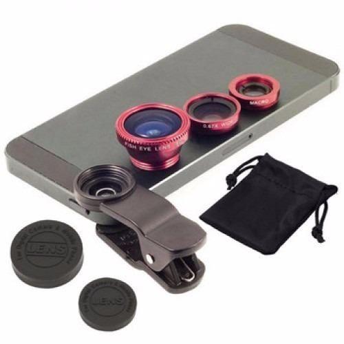 kit lentes celular fisheye macro wide moto g z3 s5 note 4 5c