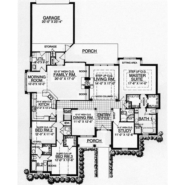 Nice Style House Plans   2854 Square Foot Home , 1 Story, 3 Bedroom And 3