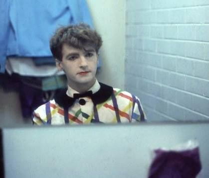 Neil Finn—make up on and early Enz costume ready for filming of 'History Never Repeats' video. Thanks to Nigel Griggs for use of his photo. Copyright Griggs@ Official Enz. From Peter Green, Frenz of the Enz fanclub manager and the Facebook Official: Split Enz page www.facebook.com/OfficialEnz