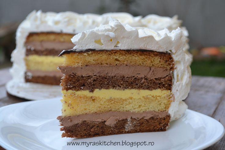 Nu am stiut cum sa numesc acest tort asa ca i-am zis cioco-vanilie pentru ca e umplut si cu crema de ciocolata si cu crema de vanil...